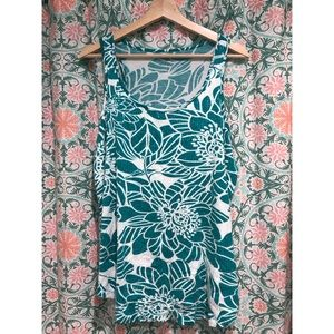 Arden B Teal and White Sequin Floral Tank Top